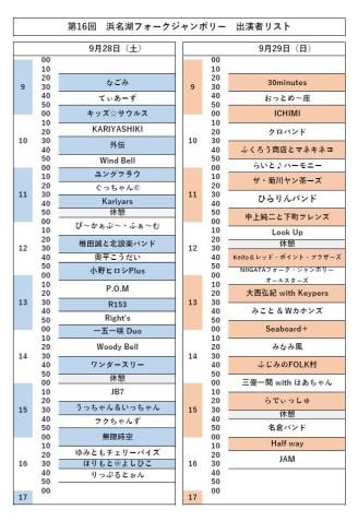 第16回浜名湖フォークジャンボリー出演者